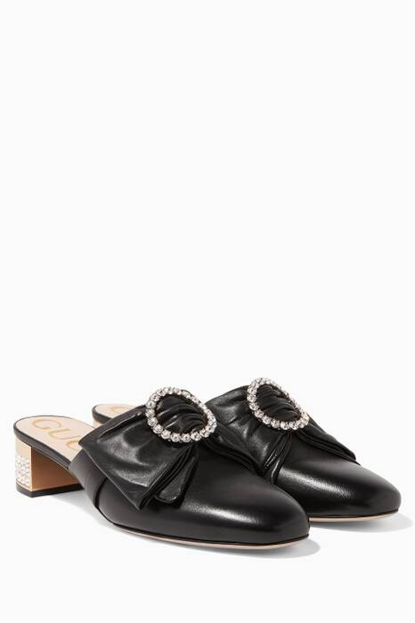Black Leather Bow & Crystal Embellished Candy Loafers