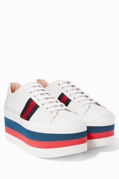 White Low-Top Platform Leather Sneakers