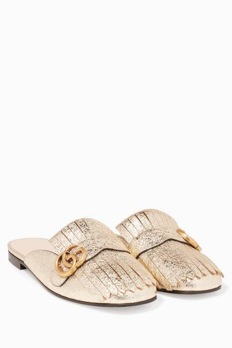 Platinum Metallic Marmont Laminate Leather Slippers