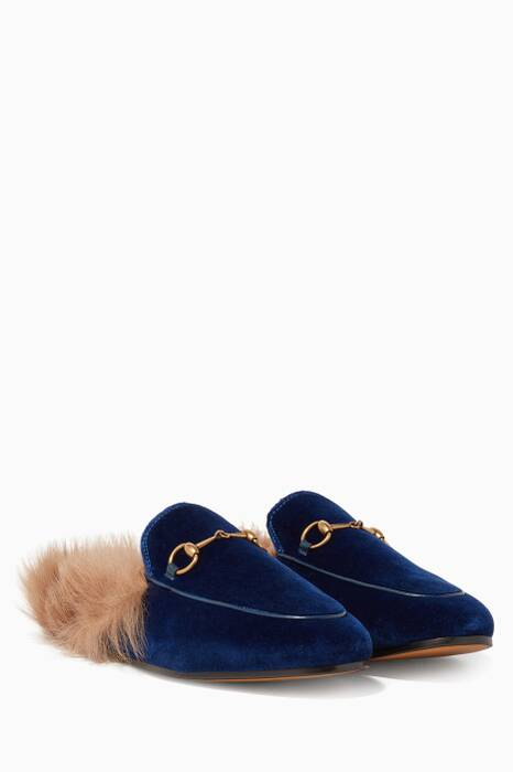 Blue Velvet & Fur Princetown Loafers
