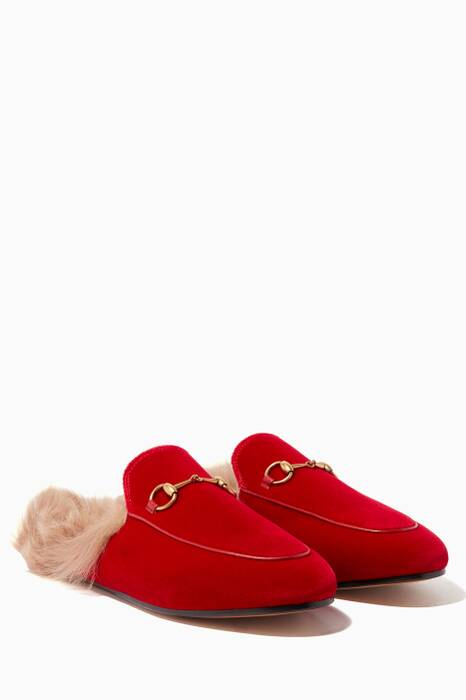 Red Velvet & Fur Princetown Loafers
