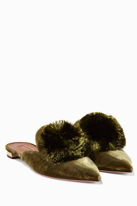 Moss Powder-Puff Velvet Slippers