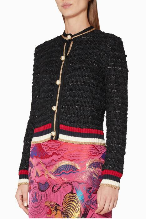 Black Wool Madras Pearl Embellished Cardigan