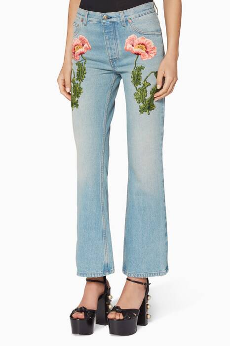 Washed Denim Floral Embroidered Flared Jeans
