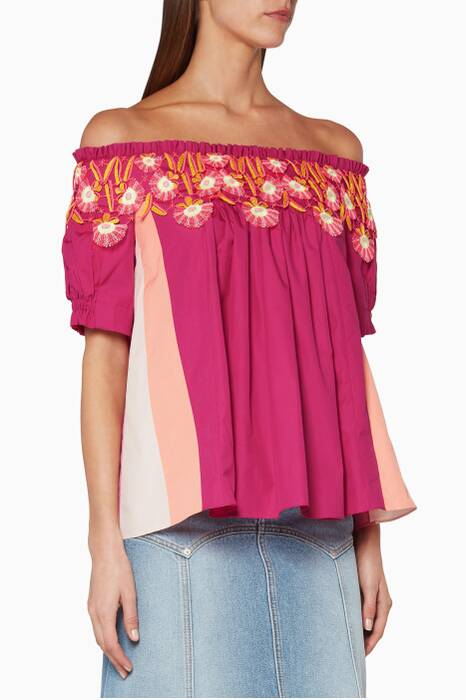 Pink Panelled Lace Top