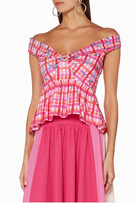 Pink Printed Off-The-Shoulder Top