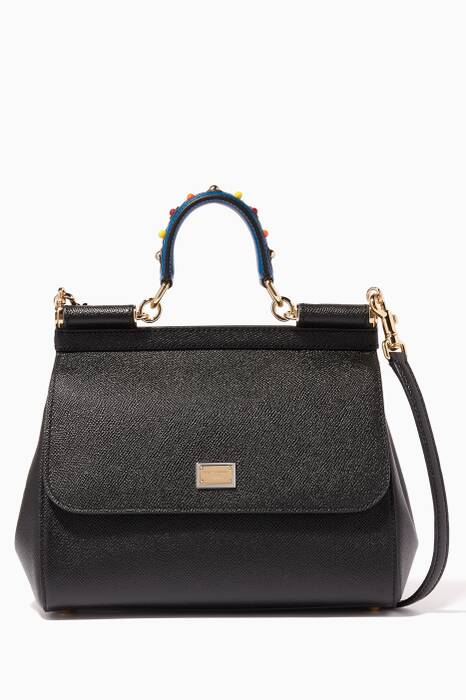 Black Medium Dauphine Leather Miss Sicily Bag