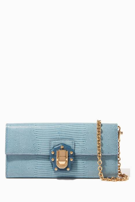 Light-Blue Iguana-Embossed Chain Wallet