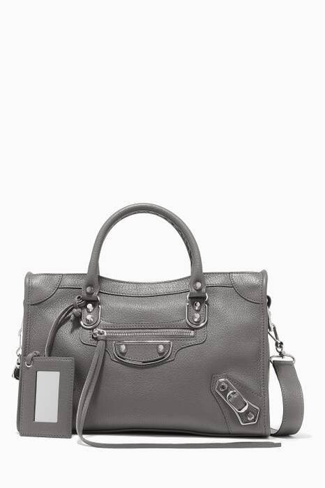 Dark-Grey Small Metallic City Edge Shoulder Bag