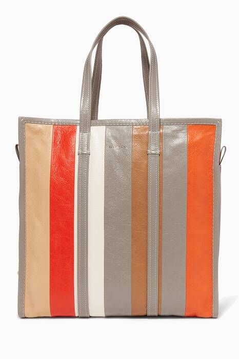 Orange Medium Bazar Stripped Shopper