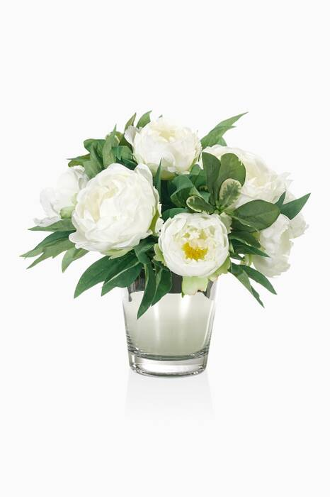 White Peony Bouquet With Mirrored Cylinder Vase