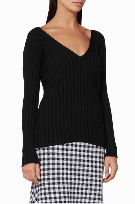 Black Ribbed-Knit Sweater