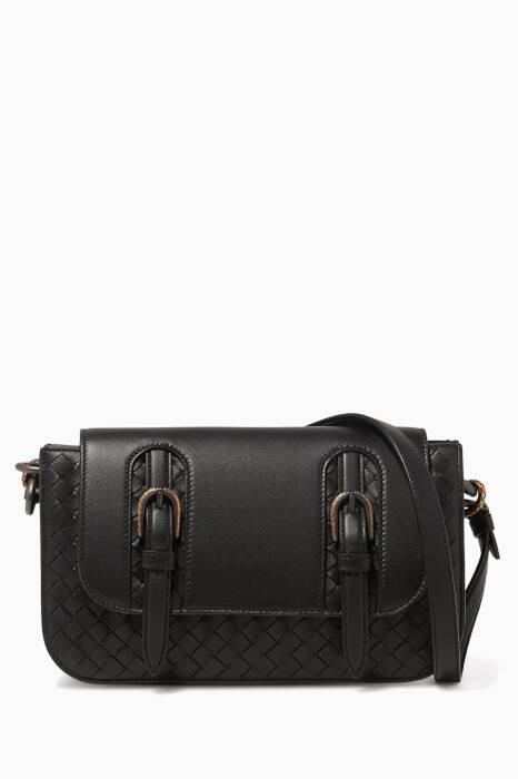 Black Small Doppia Intrecciato Shoulder Bag