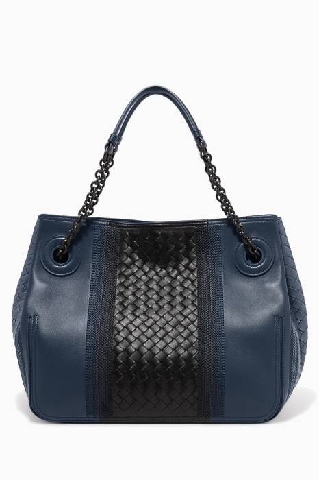 Denim-Blue Large Sunshine Leather Tote Bag