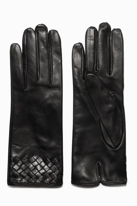Black Intrecciato Short Leather Gloves