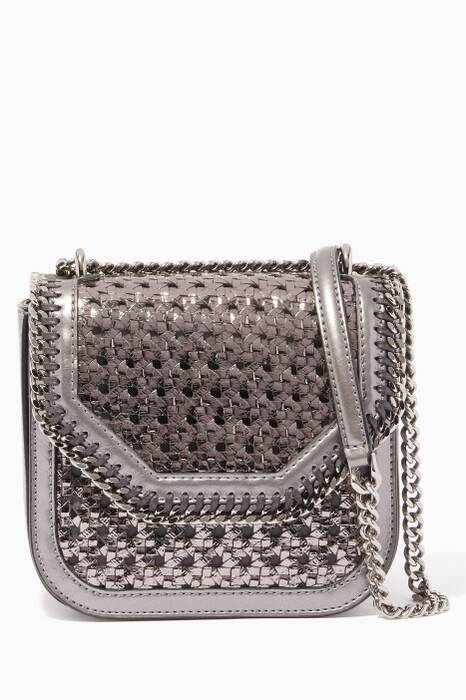 Dark-Grey Mini Wicker Falabella Box Bag