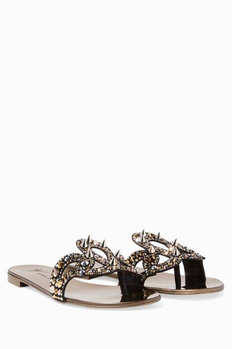 Metallic Gold Crystal & Studded Sandals