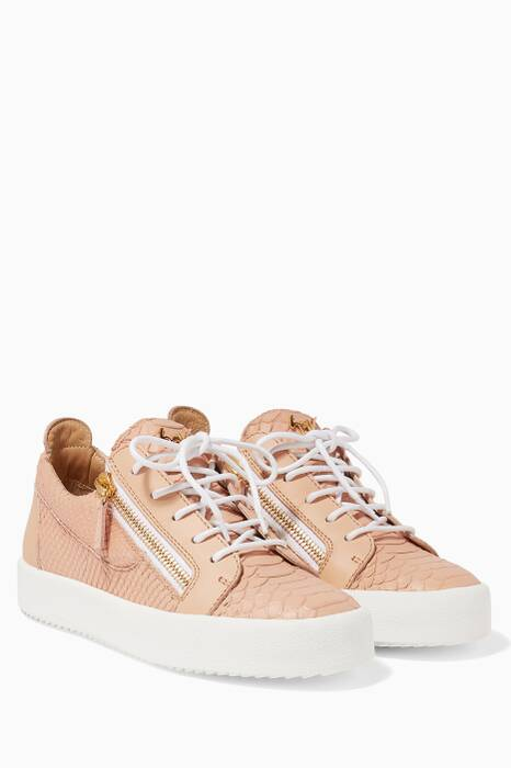 Rosa Python-Embossed Low-Top Eve Sneakers