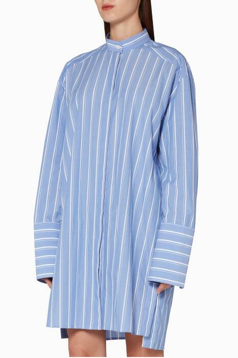Blue Striped Cotton Tunic Shirt
