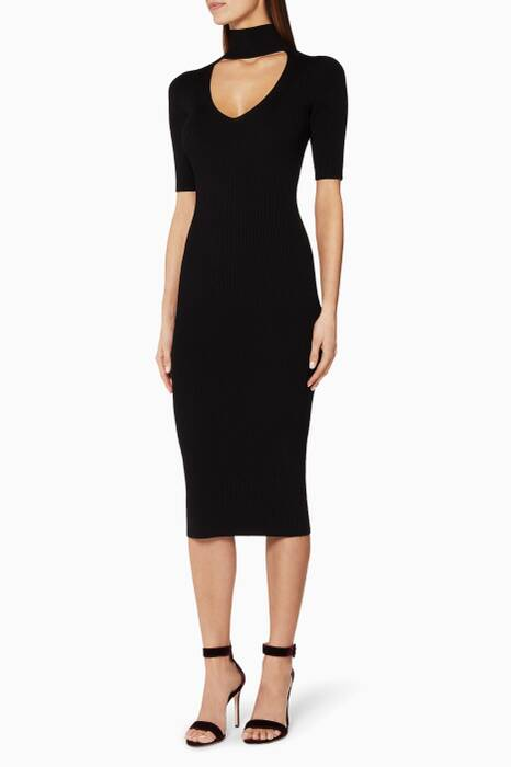 Black Cutout Turtleneck Pencil Dress