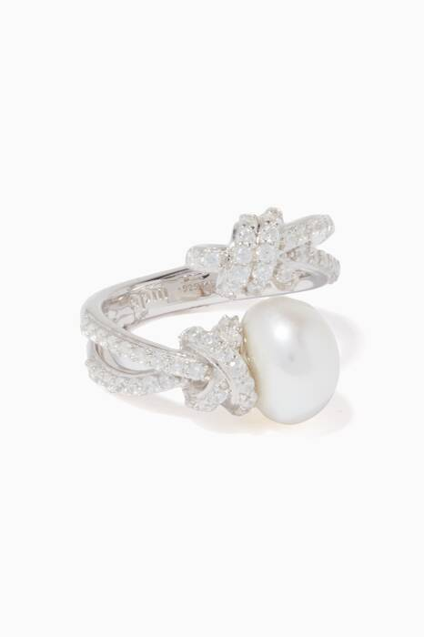 Silver Pearl Open Ring