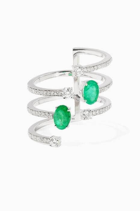 White-Gold Spectrum Emerald Ring