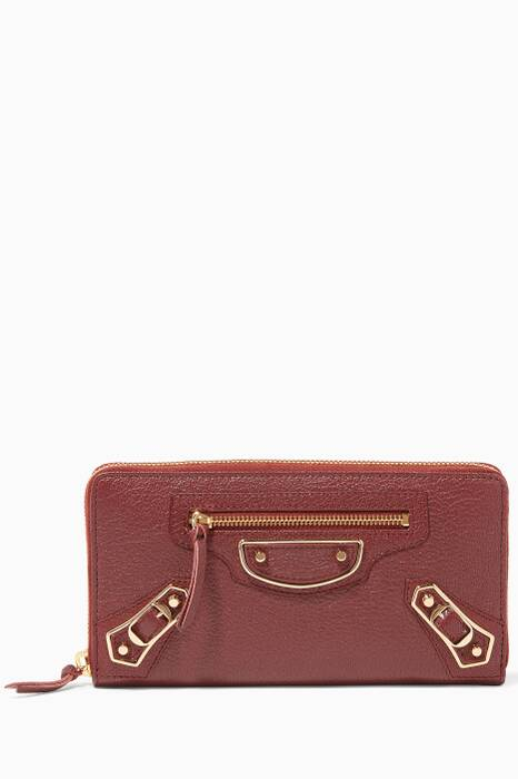 Dark-Red Metallic Edge Continental Zip Around Wallet