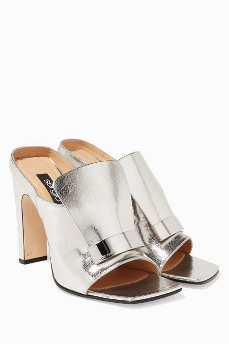 Silver Metallic Square Toe SR1 Mules