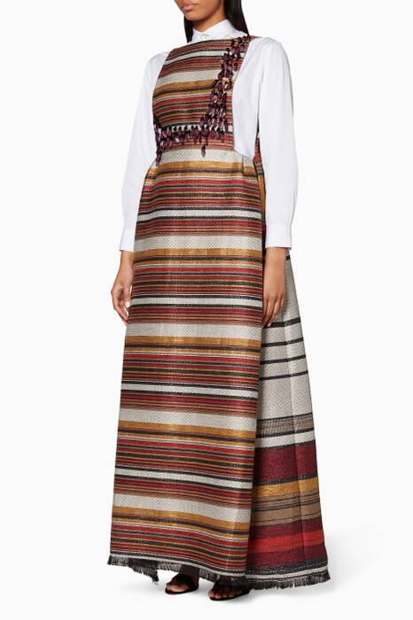 Multi-Coloured Striped Pinafore Dress