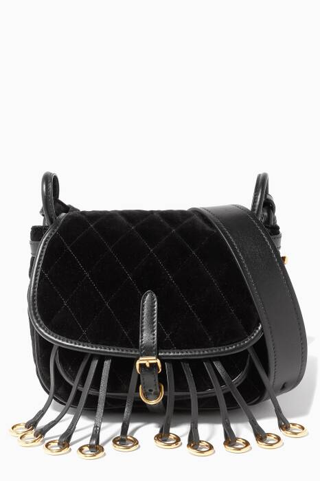 Black Quilted Velvet Corsaire Shoulder Bag