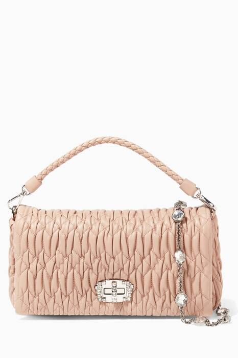 Light-Pink Matelassé Crystal-Embellished Leather Shoulder Bag