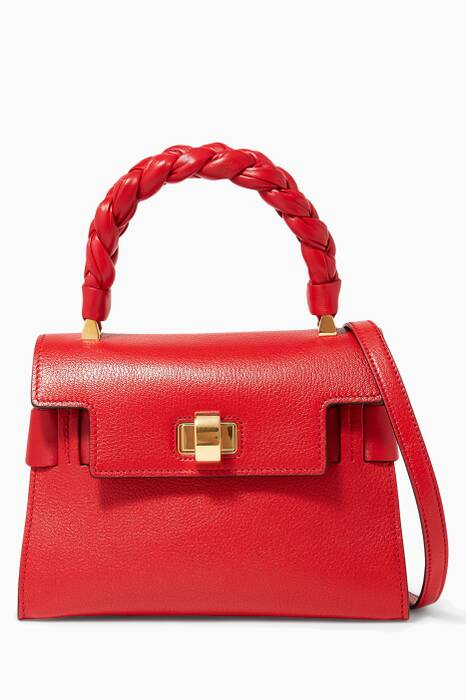 Red Click Braided Top Handle Bag