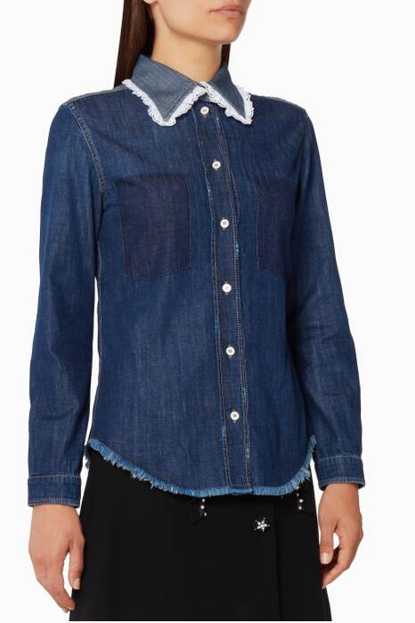 Blue Broderie-Anglaise Denim Shirt