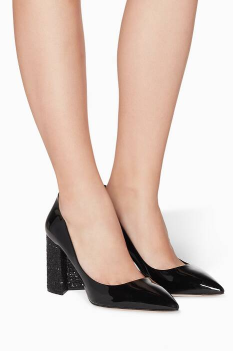 Black Glittered Patent-Leather Pumps