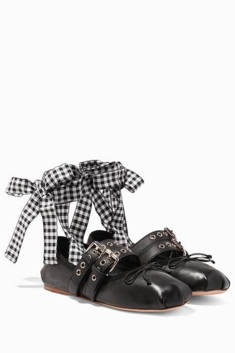 Black Lace-up Leather Ballerina Flats