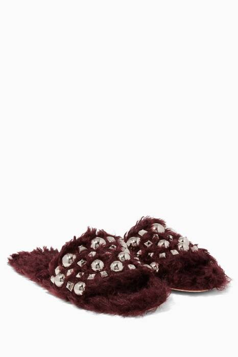 Burgundy Eco-Shearling Studded Sandals