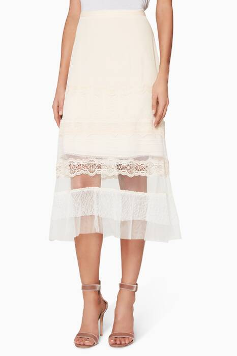 Blush Lace-Trimmed Silk-Chiffon & Tulle Skirt