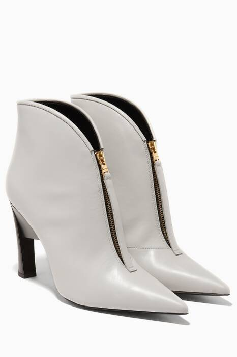 Grey Geometric Ankle Boots