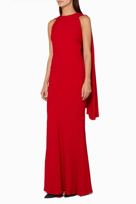 Red Halterneck Cape Gown