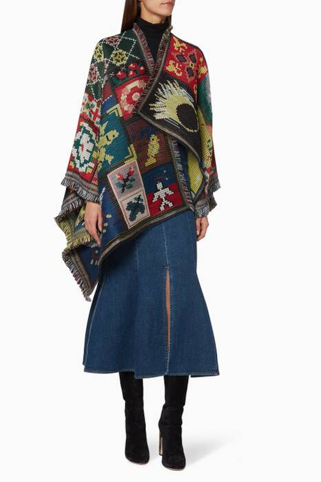 Multi-Coloured Fringed Wool-Blend Poncho