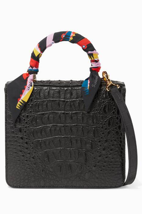 Black Crocodile SquareF Box Bag
