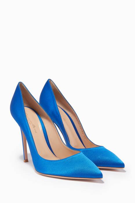 Blue Gianvito Satin Pumps