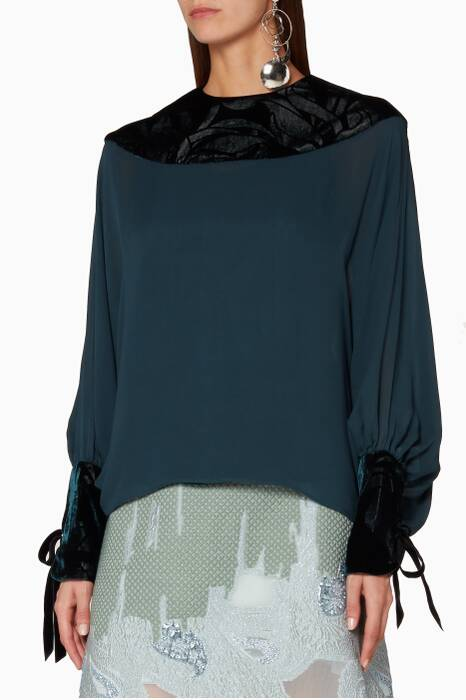 Dark-Green Velvet-Trimmed Blouse