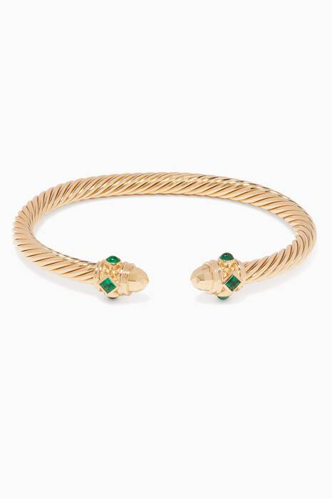 Yellow-Gold & Emerald Exclusive Cable Bracelet