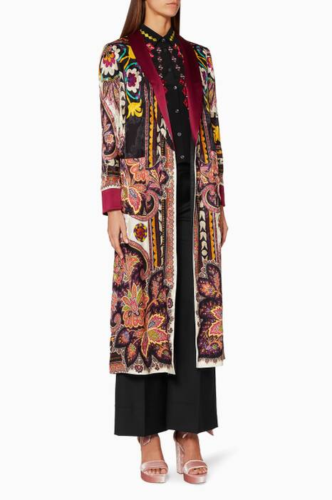 Multi-Colour Floral & Paisley Print Coat