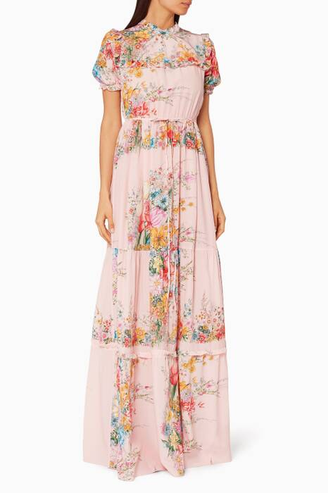 Pink Floral-Print Ruffle Maxi Dress