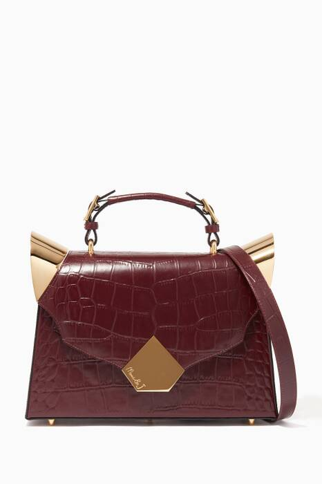 Burgundy Medium Marshall Croc-Embossed Bag