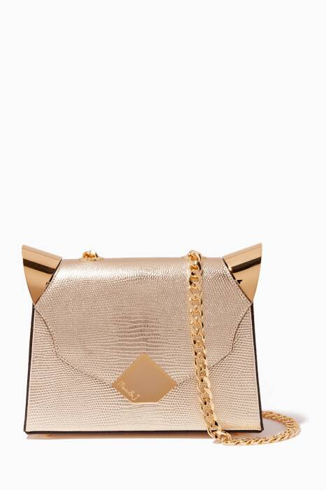 Gold Baby Marshall Lizard-Effect Shoulder Bag