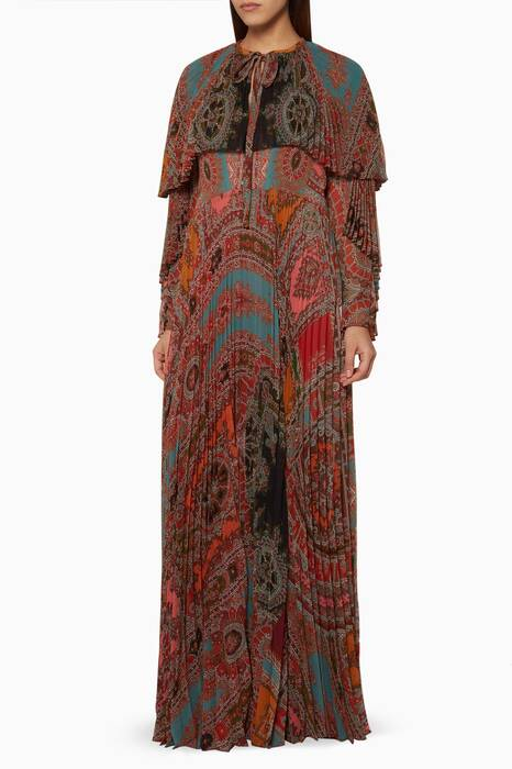 Multi-Coloured Printed Cape-Effect Dress