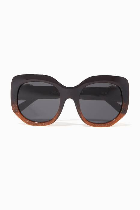 Brown Buckle Square Sunglasses